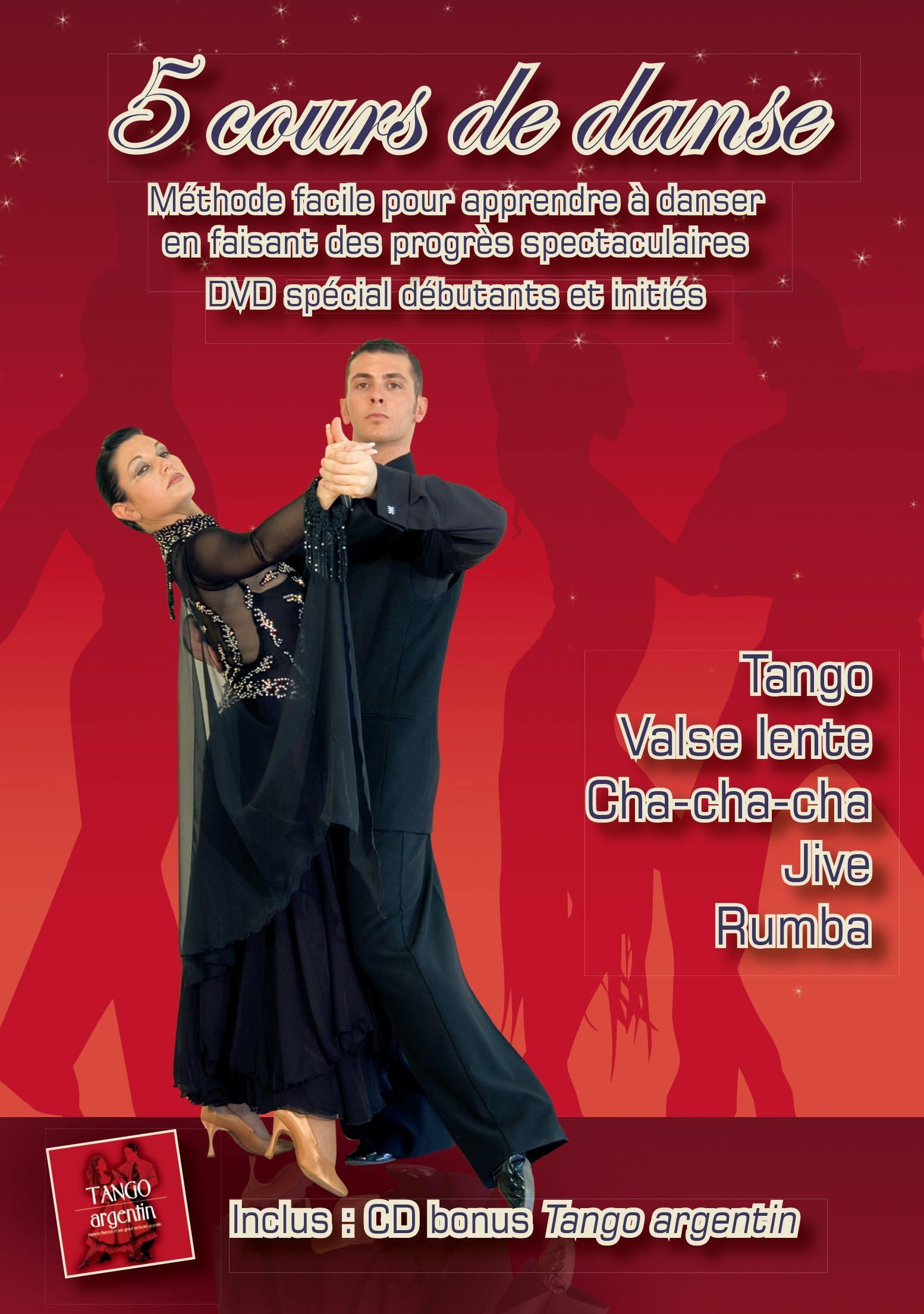 Cours de tango, valse lente, cha-cha-cha, jive, rumba - 5 dvd + cd