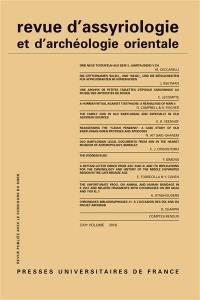 Revue d'assyriologie et d'archéologie orientale. n° 112,