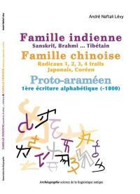 Famille indienne-sanskrit, brahmi...-tibétain, famille chinoise-radicaux 1, 2, 3, 4 traits-japonais-coréen, proto-araméen-1re écriture alphabétique (-1800)