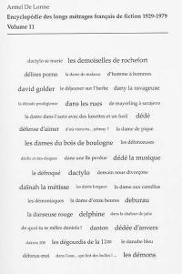 Encyclopédie des longs métrages français de fiction. Volume 11, de D'Amour et d'eau fraîche aux Dents longues