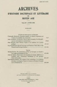 Archives d'histoire doctrinale et littéraire du Moyen Age. n° 69,