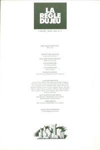 Règle du jeu (La). n° 6, L'affaire Barthes