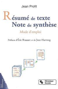 Résumé de texte, note de synthèse