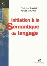 Initiation à la sémantique du langage