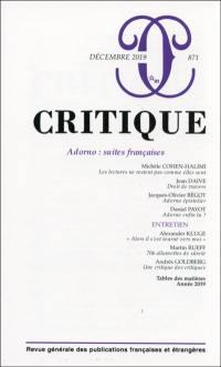 Critique. n° 871, Adorno