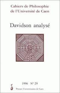 Cahiers de philosophie de l'Université de Caen. n° 29, Davidson analysé