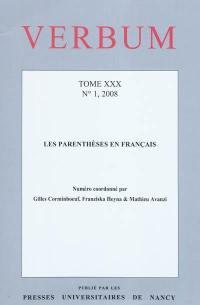 Verbum. n° 4 (2008), Les parenthèses en français