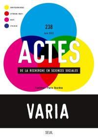 Actes de la recherche en sciences sociales. n° 238, Varia