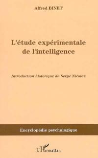 L'étude expérimentale de l'intelligence