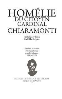 Homélie du citoyen cardinal Chiaramonti, évêque d'Imola, actuellement souverain pontife Pie VII, adressée au peuple de son diocèse, dans la république cisalpine, le jour de la naissance de Jésus-Christ, l'an 1797