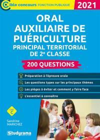 Oral auxiliaire de puériculture principal territorial de 2e classe, catégorie C