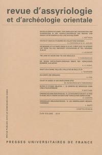Revue d'assyriologie et d'archéologie orientale. n° 108,