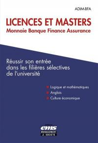 Licences et masters monnaie banque finance assurance