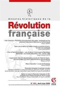 Annales historiques de la Révolution française. n° 400,