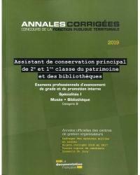 Assistant de conservation principal de 2e et 1re classe du patrimoine et des bibliothèques 2019