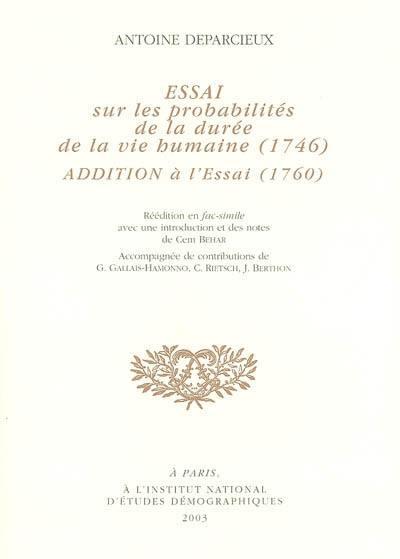 Essai sur la probabilité de la durée de la vie humaine (1746), additions à l'essai (1760)