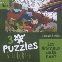 Les animaux de la forêt : 3 puzzles à colorier