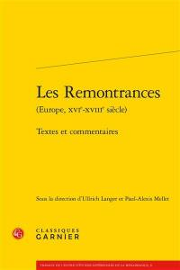 Les remontrances (Europe, XVIe-XVIIIe siècle)