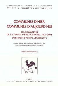 Communes d'hier, communes d'aujourd'hui
