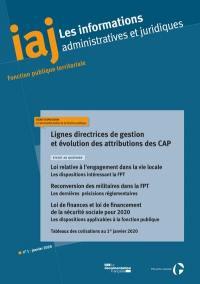 Informations administratives et juridiques. n° 1 (2020), Lignes directrices de gestion et évolution des attributions des CAP