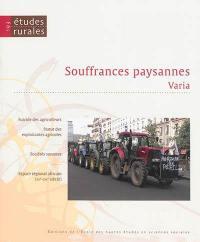 Etudes rurales. n° 193, Souffrances paysannes