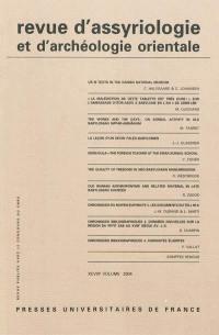 Revue d'assyriologie et d'archéologie orientale. n° 98,