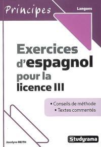 Exercices d'espagnol pour la licence III