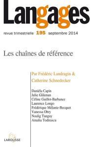 Langages. n° 195, Les chaînes de référence