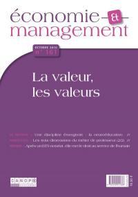 Economie et management, n° 161. La valeur, les valeurs