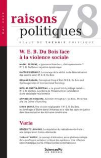 Raisons politiques. n° 78, W.E.B. Du Bois face à la violence sociale