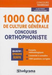1.000 QCM de culture générale, concours orthophoniste