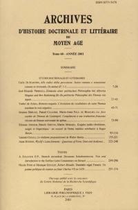 Archives d'histoire doctrinale et littéraire du Moyen Age. n° 68,