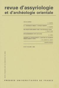 Revue d'assyriologie et d'archéologie orientale. n° 97,