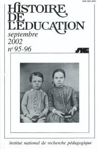 Histoire de l'éducation, n° 95-96. Bibliographie d'histoire de l'éducation française : titres parus au cours de l'année 1999 et suppléments des années antérieures