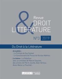 Revue droit & littérature. n° 3 (2019),