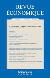Revue économique. n° 71-3, Economie de la résolution des litiges