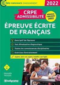 Epreuve écrite de français : CRPE admissibilité, catégorie A : 2022