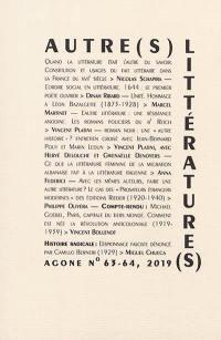 Agone. n° 63-64, Autre(s) littérature(s) ?