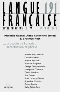 Langue française. n° 191, La prosodie du français