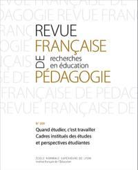 Revue française de pédagogie. n° 209, Quand étudier, c'est travailler