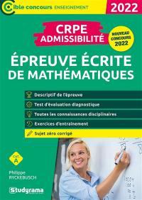 Epreuve écrite de mathématiques : CRPE admissibilité, catégorie A : 2022