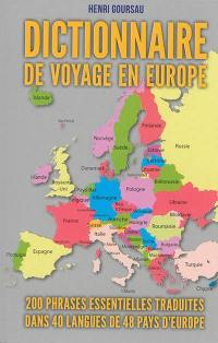 Dictionnaire de voyage en Europe