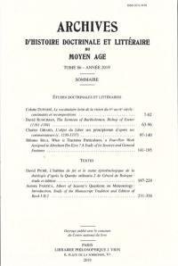 Archives d'histoire doctrinale et littéraire du Moyen Age. n° 86,