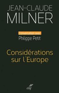 Considérations sur l'Europe