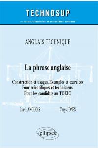 Anglais technique, la phrase anglaise