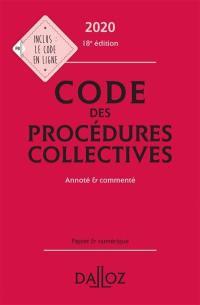 Code des procédures collectives 2020