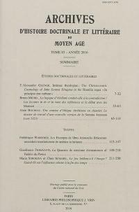 Archives d'histoire doctrinale et littéraire du Moyen Age. Volume 83,