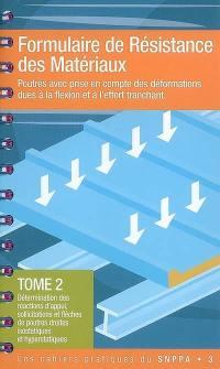Formulaire de résistance de matériaux. Volume 2, Détermination des réactions d'appui, sollicitations et flèches de poutres droites isostatiques et hyperstatiques