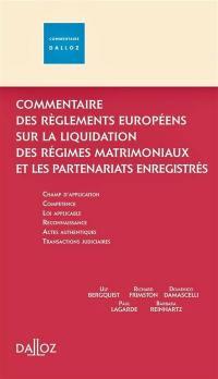 Commentaire du règlement européen sur les régimes matrimoniaux et les partenaires enregistrés