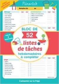 Bloc de 52 listes de tâches hebdomadaires à compléter
